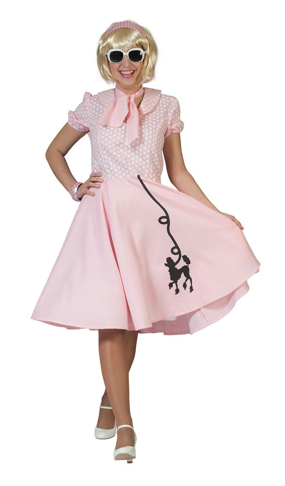 Beautiful 50's Pink Poodle Dress Ladies Fancy Dress Costume Hen Party Outfit