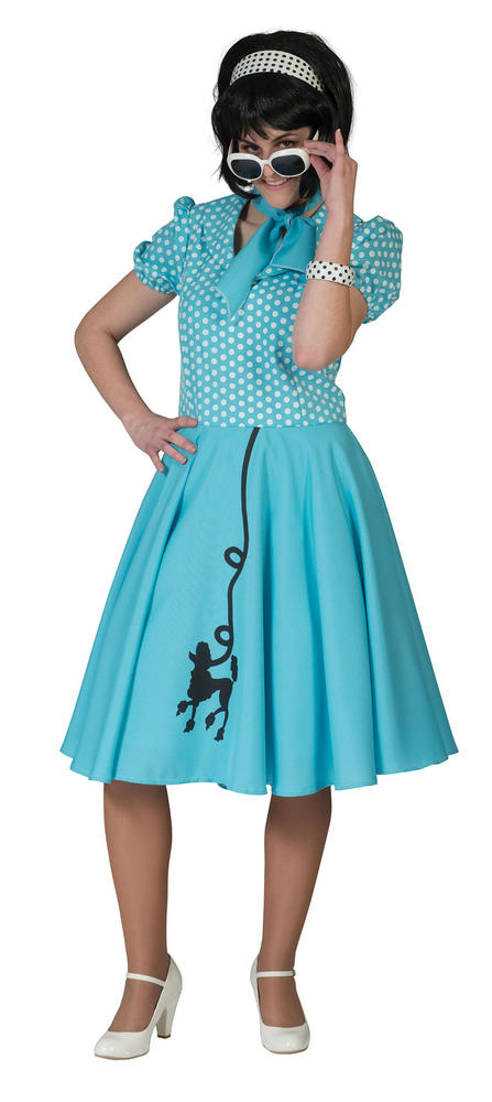 Beautiful 50s Blue Poodle Dress Ladies Fancy Dress Costume Hen Party Outfit