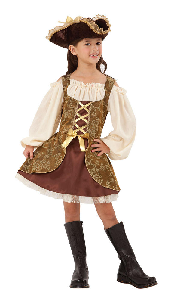 Girls Golden Pirate Fancy Dress Costume