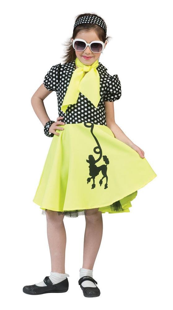 Girls 50 Poodle Dress Yellow /Black