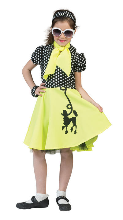 Girls 50 Poodle Dress Yellow /Black  Thumbnail 1
