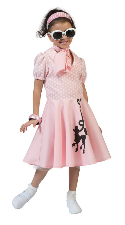 Girls 50s Poodle Pink Fancy Dress Costume Thumbnail 1