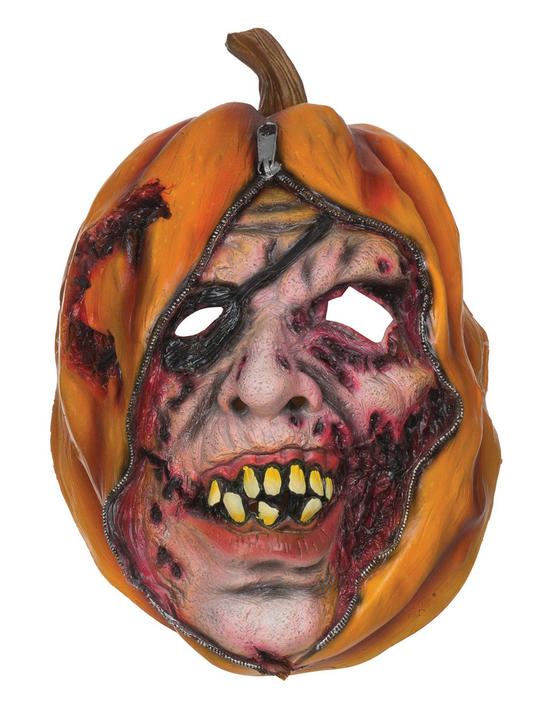 Adult Horror Pumpkin Unzipped Halloween Mask Fancy Dress Accessory Thumbnail 1