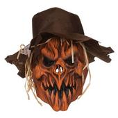 Adult Halloween Horror Scarecrow Skull with Hat Mask Fancy Dress Accessory