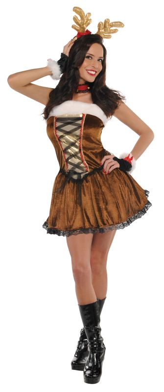 Deluxe Sexy Christmas Raindeer Ladies Fancy Dress Costume Xmas Party Outfit