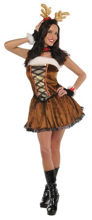 Deluxe Sexy Christmas Raindeer Ladies Fancy Dress Costume Xmas Party Outfit Thumbnail 1