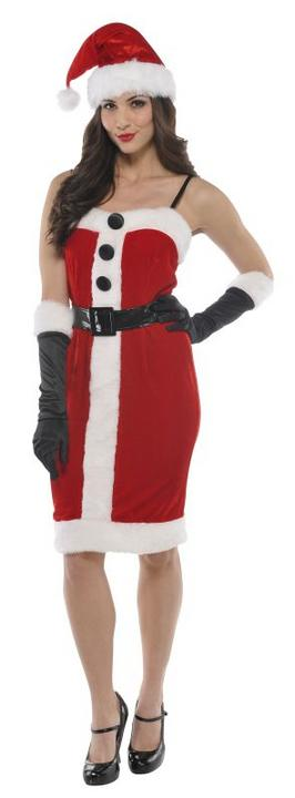 Deluxe Sexy Miss Sants Ladies Fancy Dress Costume Xmas Party Outfit Size 8 - 12 Thumbnail 1