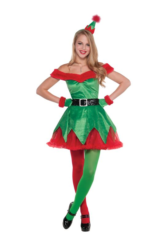Deluxe Santa's Litle Helper Elf Ladies Fancy Dress Costume Xmas Party Outfit