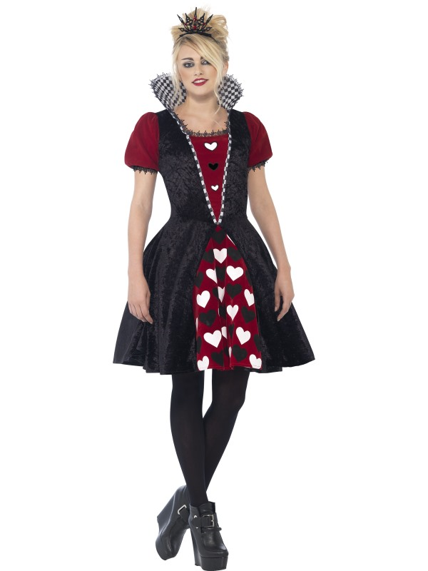 Kids Deluxe Dark Heart Red Queen Girls Halloween Fancy Dress Teen Costume Outfit