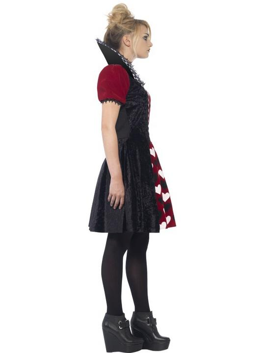 Kids Deluxe Dark Heart Red Queen Girls Halloween Fancy Dress Teen Costume Outfit Thumbnail 3
