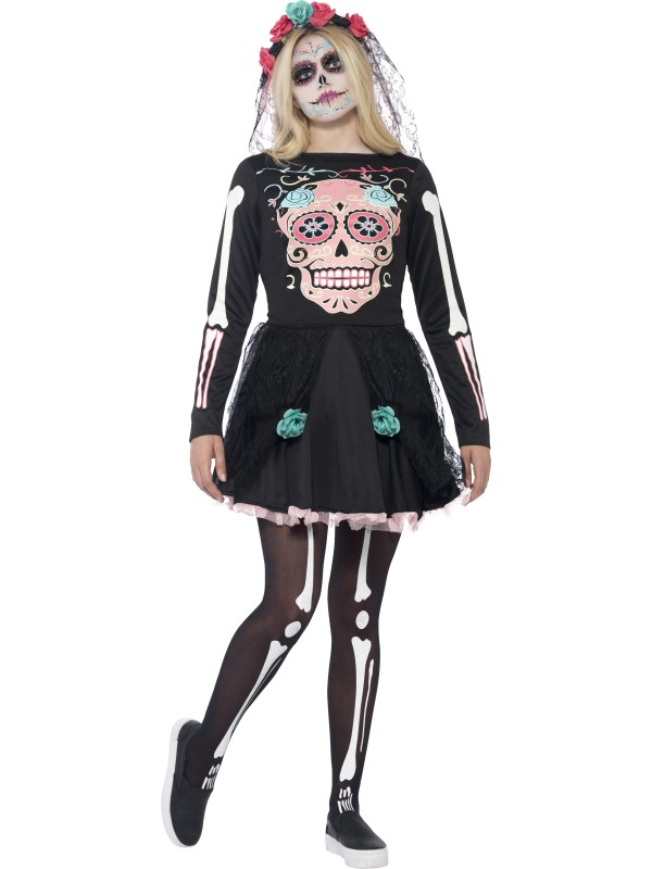 Mexican Day Of The Dead Sugar Skull Sweetie Teen Halloween Fancy Dress Costume