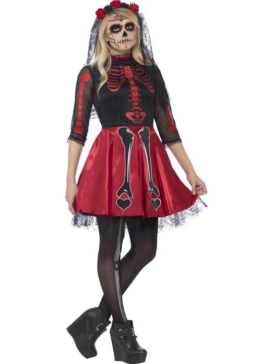 SALE! Kids Mexican Day Of The Dead Diva Girls Halloween Fancy Dress Teen Costume Thumbnail 1