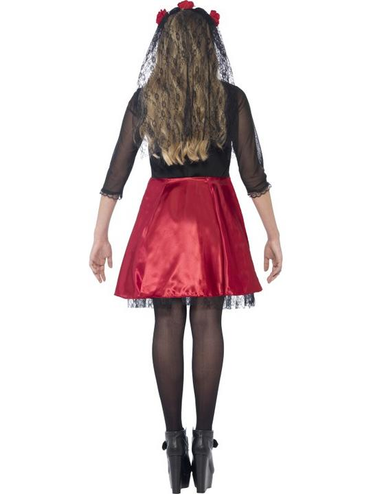 SALE! Kids Mexican Day Of The Dead Diva Girls Halloween Fancy Dress Teen Costume Thumbnail 2