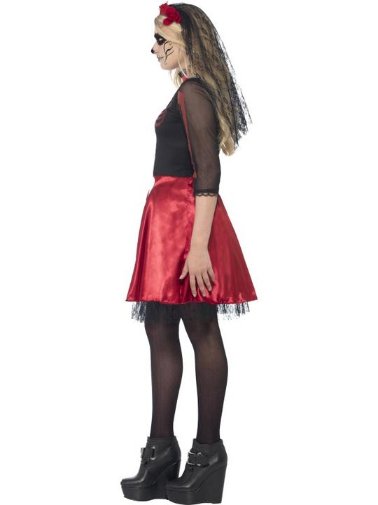 SALE! Kids Mexican Day Of The Dead Diva Girls Halloween Fancy Dress Teen Costume Thumbnail 3
