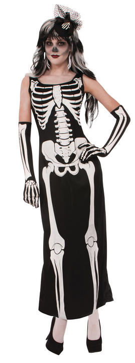 Womens Halloween Long Skeleton Dress Costume Ladies Fancy Dress Outfit Thumbnail 1