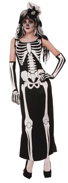 Womens Halloween Long Skeleton Dress Costume Ladies Fancy Dress Outfit Thumbnail 1