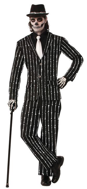Adult Skeleton Bone Pin Stripe Suit Mens Halloween Fancy Dress Costume Outfit Thumbnail 1