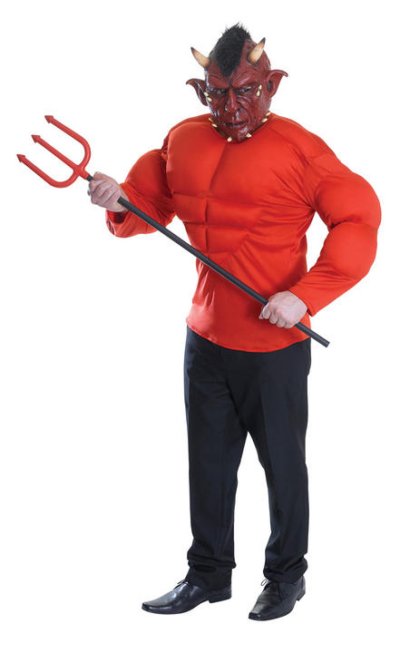 Mens Halloween Devil Costume Gents Halloween Fancy Dress Outfit Thumbnail 1