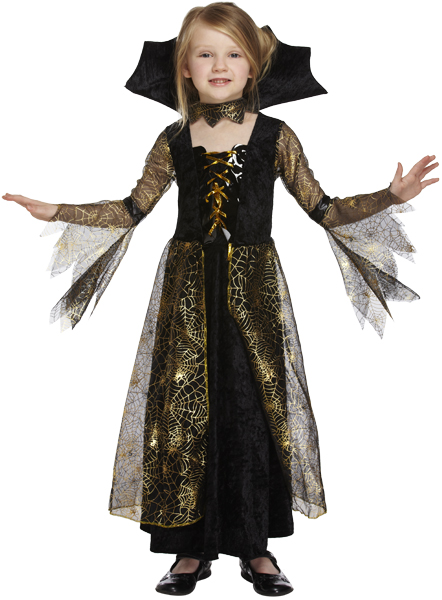 Kids Evil Princess Spiderella Witch Girls Halloween Fancy Dress Costume Outfit Thumbnail 1