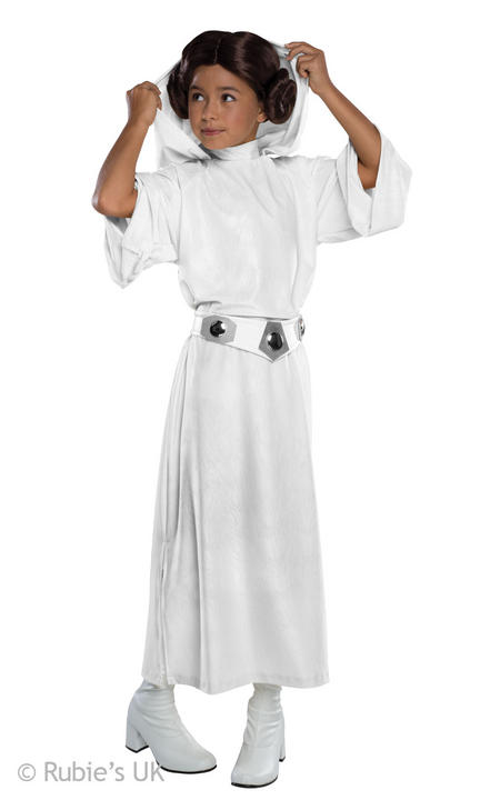 Girls Disney Star Wars Deluxe Princess Leia Fancy Dress Costume  Thumbnail 1