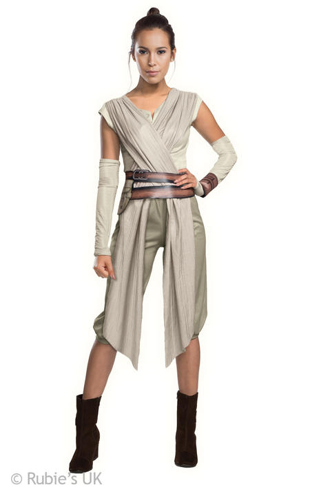 Womens Disney Star Wars Rey Costume Ladies Fancy Dress Outfit Thumbnail 1