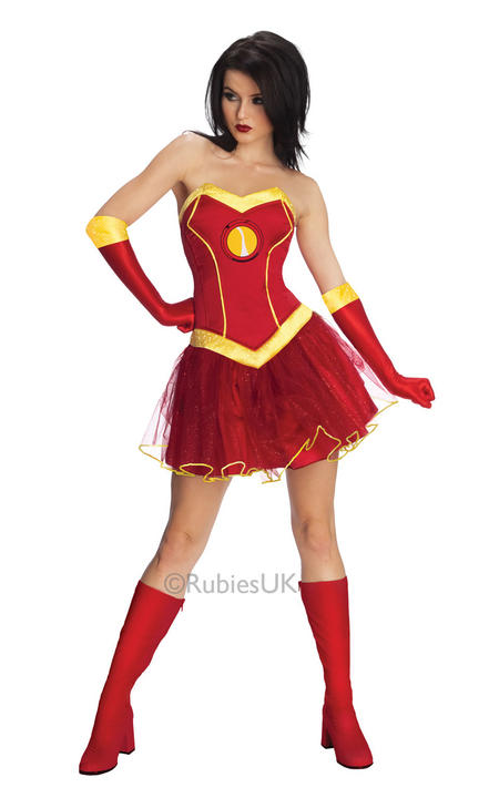Womens Marvel Ironman Rescue Fancy Dress Costume Pepper Potts Thumbnail 1