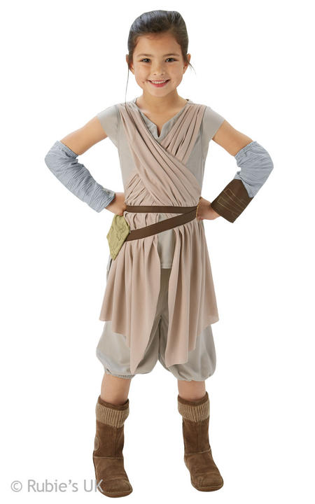 Girls Disney Star Wars Rey Deluxe Fancy Dress Costume  Thumbnail 1