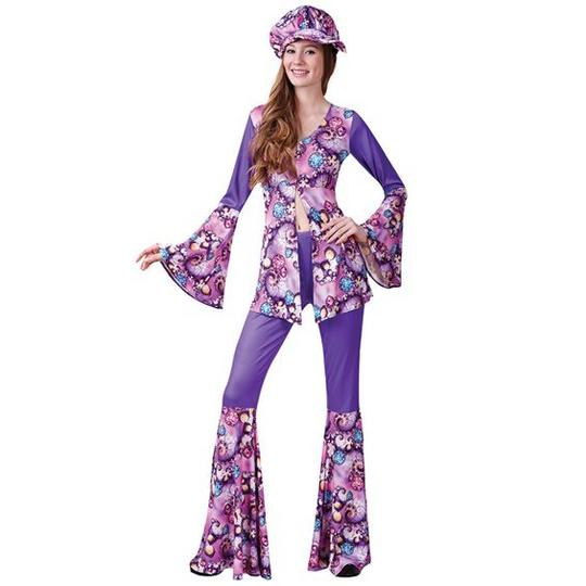 Beautiful 70's Flower Power Groovy Hippy Ladies Fancy Dress Costume Party Outfit Thumbnail 1