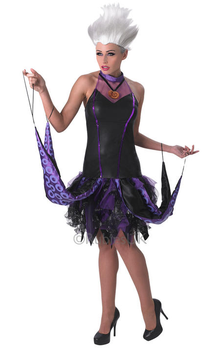 Stunning Disneys Little Mermaid Evil Ursula Ladies Halloween Fancy Dress Costume Thumbnail 1