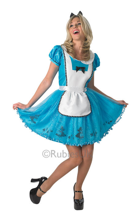 Beautiful Disney Alice In Wonderland Ladies Fancy Dress Costume Hen Night Outfit Thumbnail 1