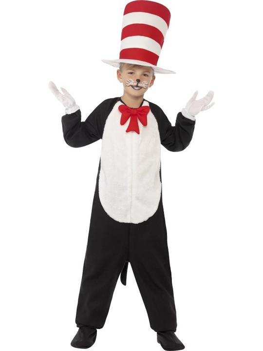 Kids DR SEUSS Cat In The Hat Boys Book Week Fancy Dress Costume Party Outfit Thumbnail 1