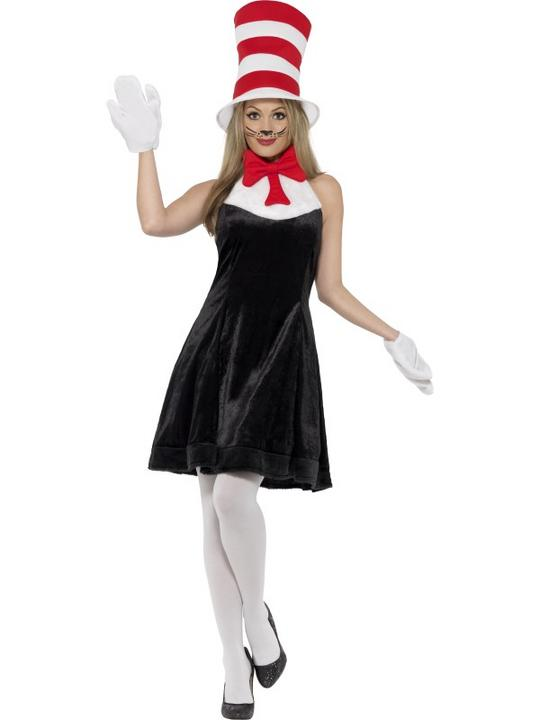 Ladies Cat in the Hat Fancy Dress Costume Thumbnail 1