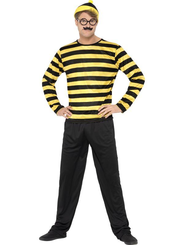 Mens Where's Wally Odlaw Fancy Dress Costume