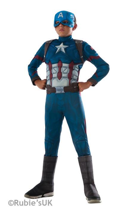 Boy's Captain America Deluxe - Civil War Fancy Dress Costume Thumbnail 1