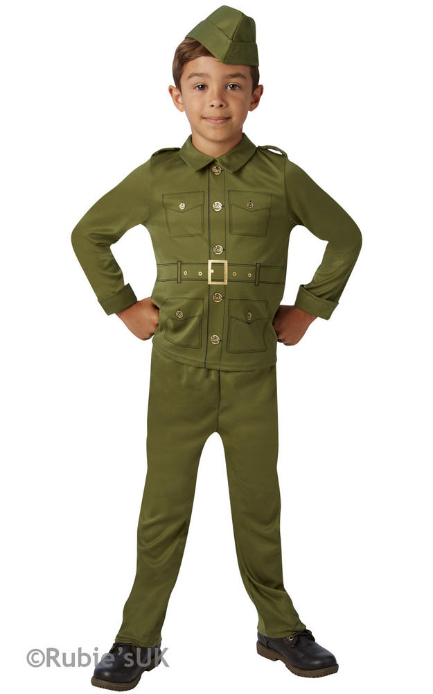 Boys Book Week WW2 American Soldier Costume Historical Kids Fancy Dress Outfit