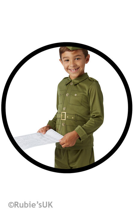 Boys Book Week WW2 American Soldier Costume Historical Kids Fancy Dress Outfit Thumbnail 2