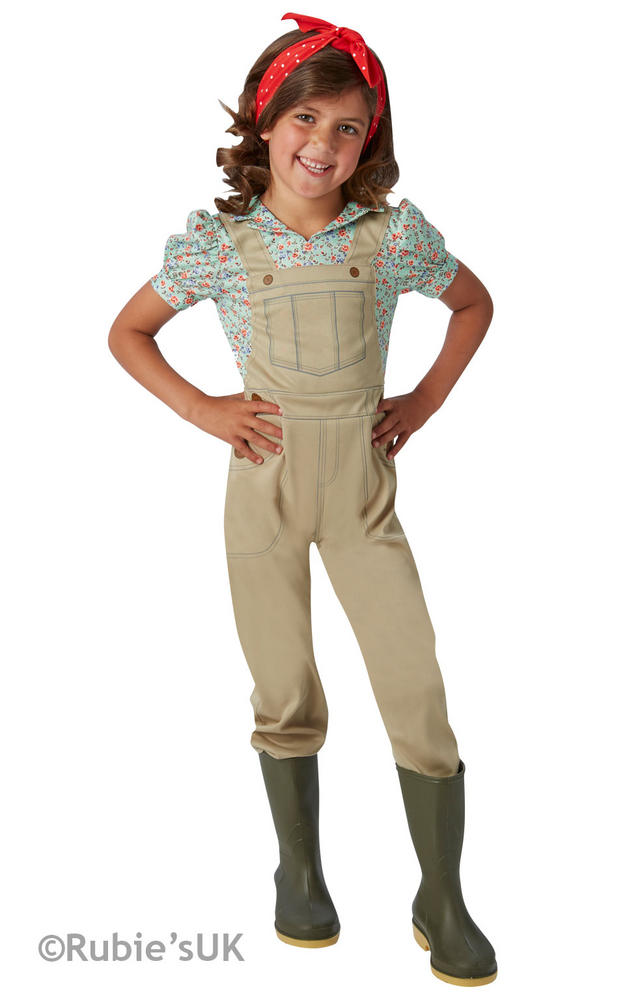 Girls Book Week WW2 World War 2 Land Girl Costume Kids Fancy Dress Outfit