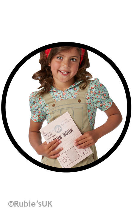 Girls Book Week WW2 World War 2 Land Girl Costume Kids Fancy Dress Outfit Thumbnail 2