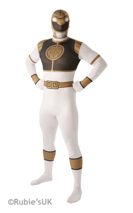 Men's White Ranger 2nd Skin Fancy Dress Costume Thumbnail 1