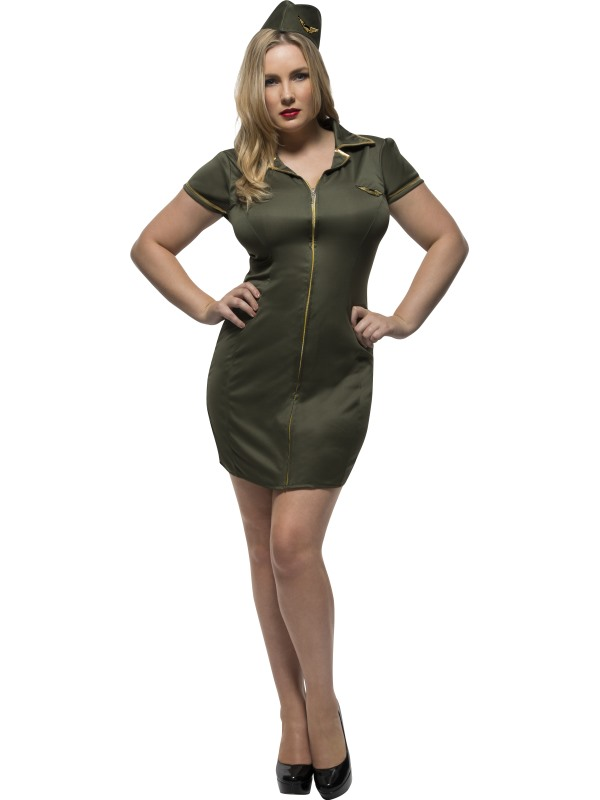 Women's Fever Curves Army Fancy Dress Costume