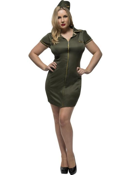 Women's Fever Curves Army Fancy Dress Costume Thumbnail 1