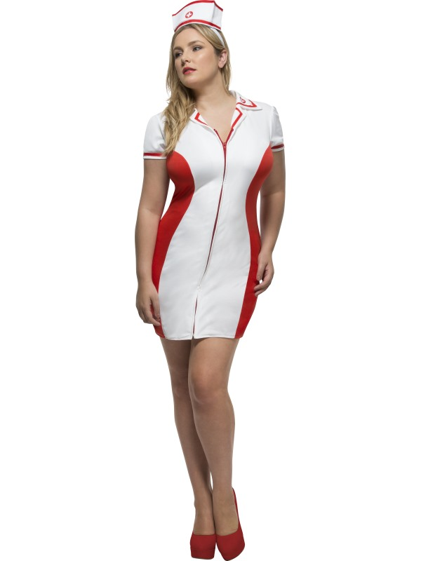 Women's Fever Curves Nurse Fancy Dress Costume