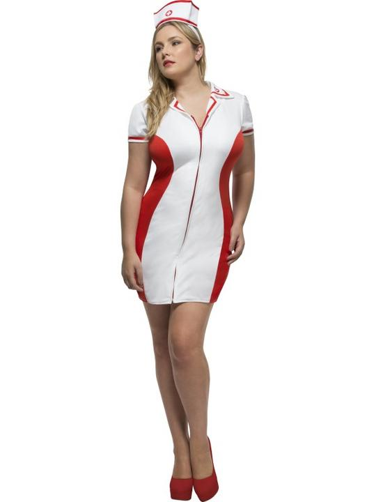 Women's Fever Curves Nurse Fancy Dress Costume Thumbnail 1