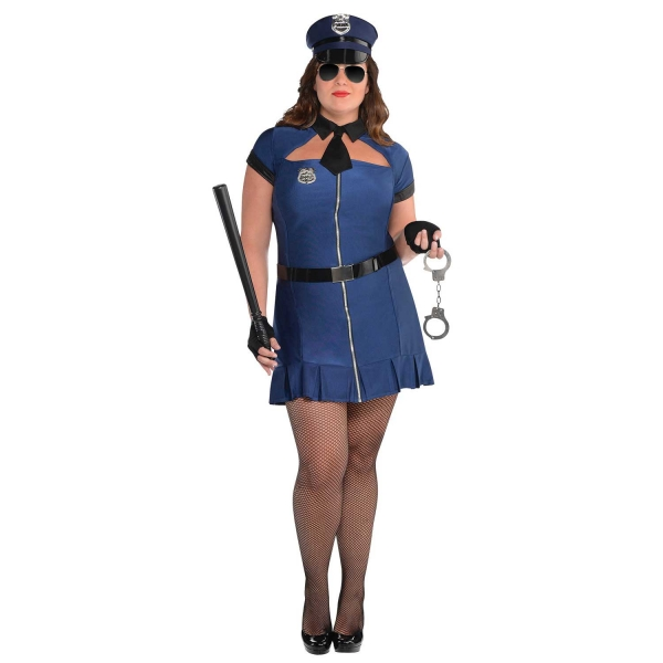 Deluxe Sexy Miss Bad Cop Ladies Plus Size Fancy Dress Costume Party Outfit