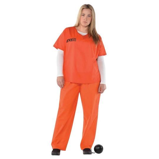 Orange Inmate Fancy Dress Cosume Plus Size  Thumbnail 1