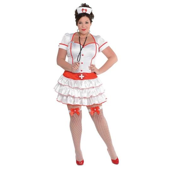 Deluxe Sexy Nurse Uniform Ladies Plus Size Fancy Dress Costume Party Outfit Thumbnail 1