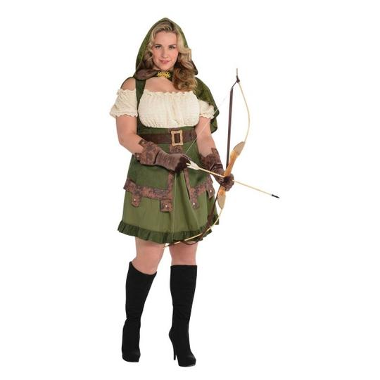Deluxe Sexy Miss Robin Hood Ladies Plus Size Fancy Dress Costume Party Outfit Thumbnail 1