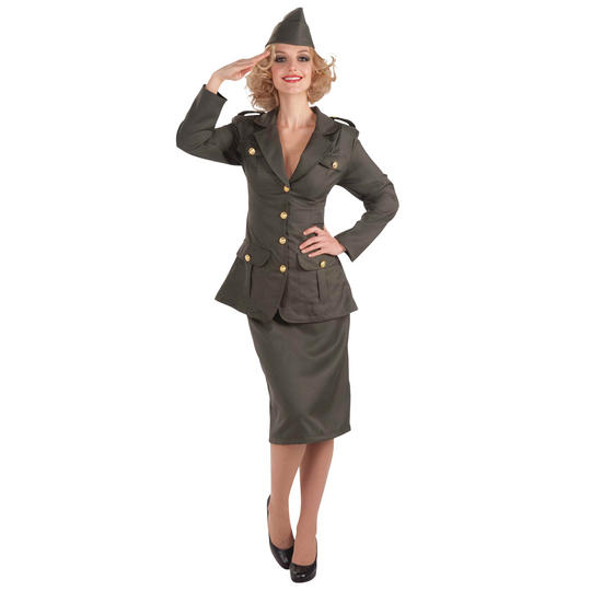 Women's WW11 Army Gal Fancy Dress Costume Thumbnail 1