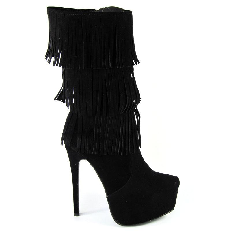 Essex Glam Boots Ladies Tassle Knee High Stiletto Boot Heels Womens Platform New