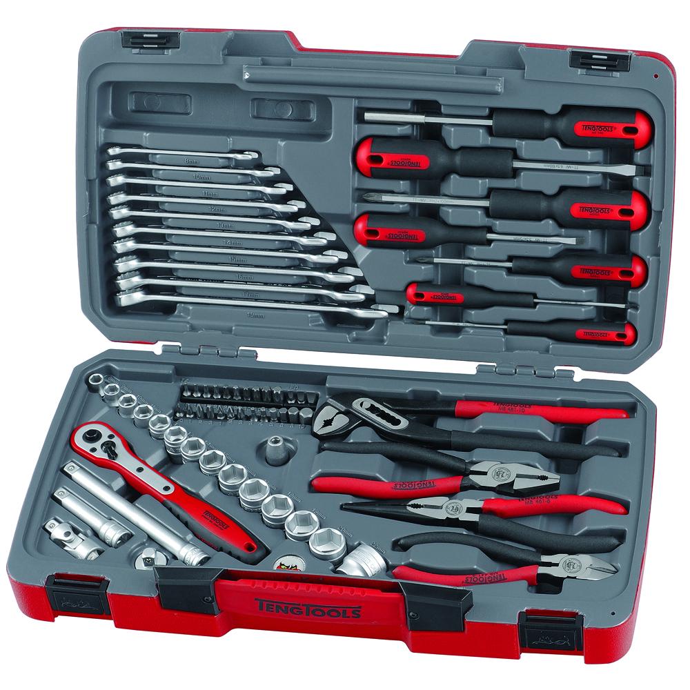 teng tools t3867 67 piece 3 8 drive tool set box kit screwdrivers sockets ebay. Black Bedroom Furniture Sets. Home Design Ideas